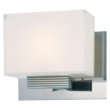 Minka George Kovacs Chrome 1 Light 7in. Width Bathroom Sconce in Chrome from the Cubism Collection
