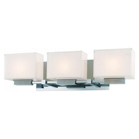 Minka George Kovacs 3 Light Chrome Mitered White Inside Glass Vanity