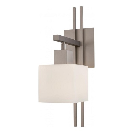 Minka George Kovacs One Light Matte Brushed Nickel Etched Opal Glass Vanity