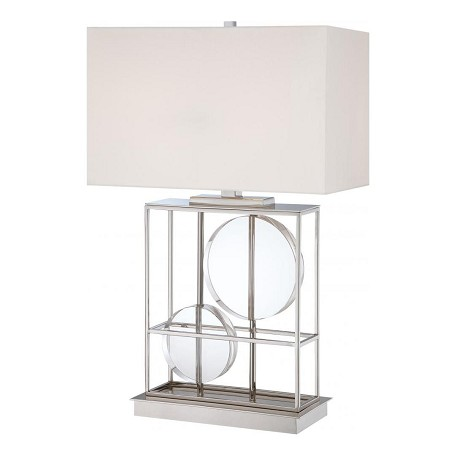 Minka George Kovacs Two Light Polished Nickel White Fabric Shade Table Lamp