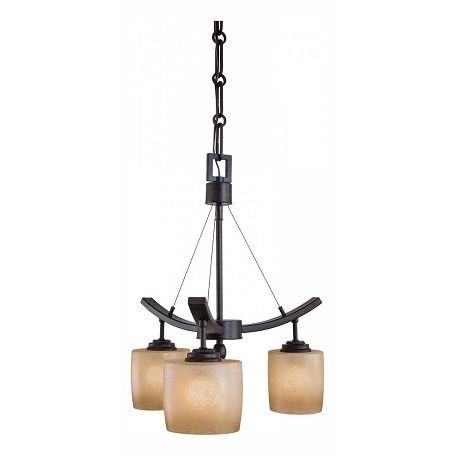 Minka-Lavery Iron Oxide 3 Light 1 Tier Mini Suspension Chandelier From The Raiden Collection