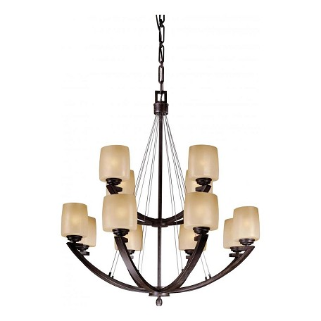 Minka-Lavery Iron Oxide 12 Light 2 Tier Suspension Chandelier From The Raiden Collection