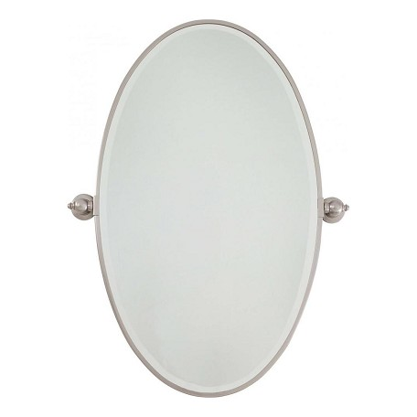 Minka lavery brushed nickel extra large oval pivoting bathroom mirror brushed nickel 1432 84 for Bathroom mirrors brushed nickel