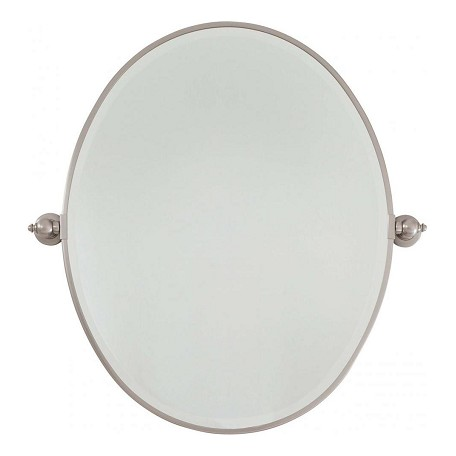 Minka lavery brushed nickel large oval pivoting bathroom mirror brushed nickel 1433 84 from for Bathroom mirrors brushed nickel