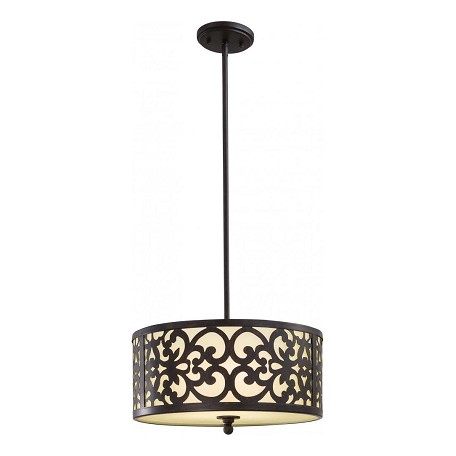 Minka-Lavery Iron Oxide 3 Light 10In. Height Indoor Drum Pendant From The Nanti Collection