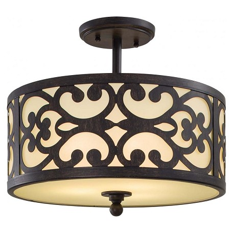 Minka-Lavery Iron Oxide 3 Light Semi-Flush Ceiling Fixture From The Nanti Collection
