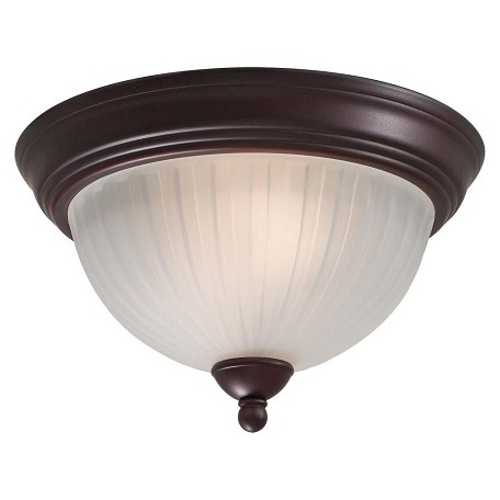 Minka-Lavery Lathan Bronze 2 Light Flush Mount Ceiling Fixture From The 1730 Collection