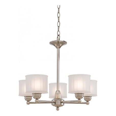 Minka-Lavery Polished Nickel 5 Light 1 Tier Mini Chandelier From The 1730 Series Collection