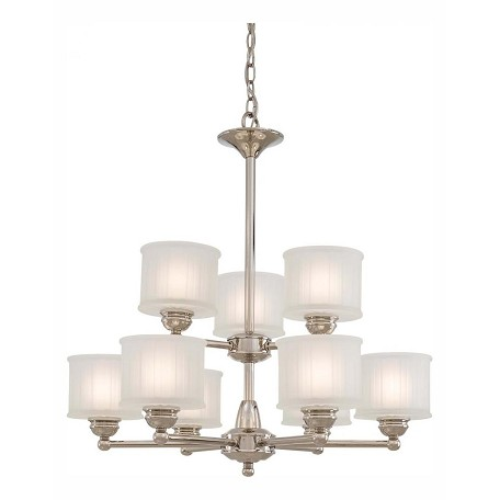 Minka-Lavery Polished Nickel 9 Light 2 Tier Chandelier From The 1730 Series Collection