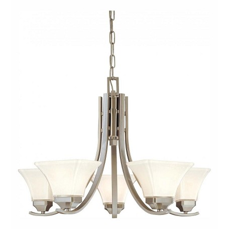 Minka-Lavery Brushed Nickel 5 Light 1 Tier Chandelier From The Agilis Collection