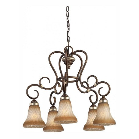 Minka-Lavery Distressed Marsoni Bronze 5 Light 1 Tier Chandelier From The Marsoni Collection