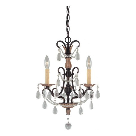 Minka-Lavery Distressed Bronze 3 Light 17.75In. Height 1 Tier Candle Style Crystal Chandelier