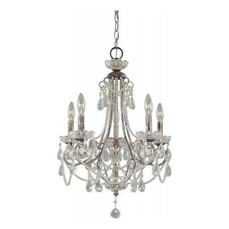 Minka-Lavery Distressed Silver 5 Light 25.5In. Height 1 Tier Candle Style Crystal Chandelier