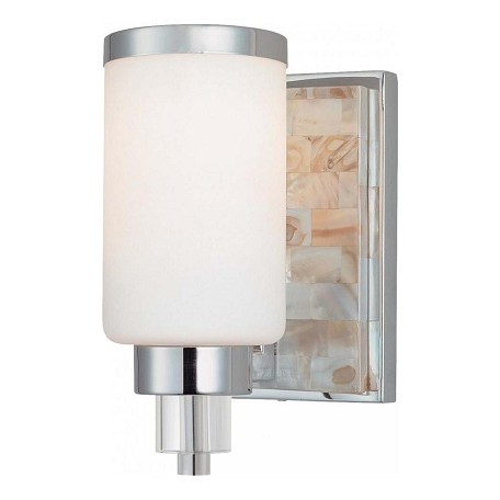Minka-Lavery Chrome With Natural Shell 1 Light 7.75In. Height Bathroom Sconce