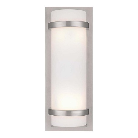 Minka-Lavery Brushed Nickel 2 Light 6.75In. Width Ada Wall Sconce With Etched Opal Shade