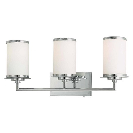 Minka-Lavery 3 Lite Bath Bar With White Opal Glass