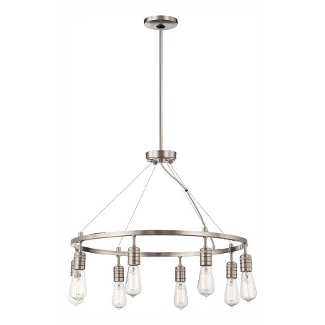 Minka-Lavery Brushed Nickel 8 Light 1 Tier Chandelier From The Downtown Edison Collection