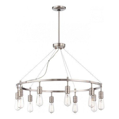 Minka-Lavery Brushed Nickel 10 Light 1 Tier Chandelier From The Downtown Edison Collection