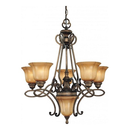 Minka-Lavery Patina Iron 5 Light 2 Tier Chandelier From The La Cecilia Collection