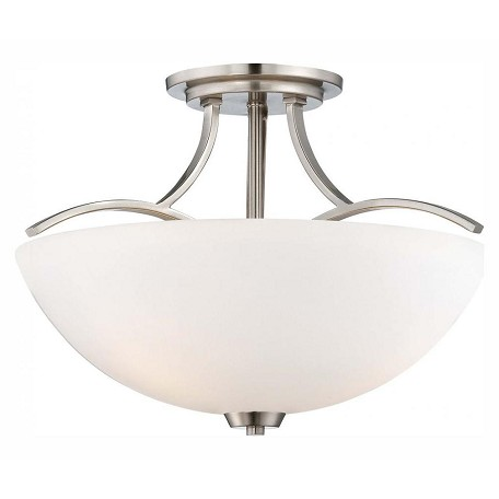Minka-Lavery 3 Light Semi Flush With Etched Opal Glass And Nickel Finish