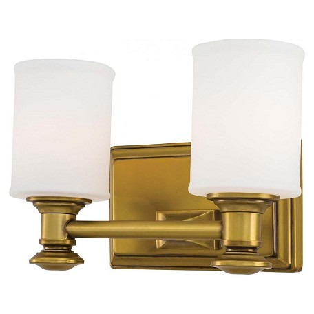 Minka lavery 2 light bath vanity light with gold finish for Gold bathroom wall lights