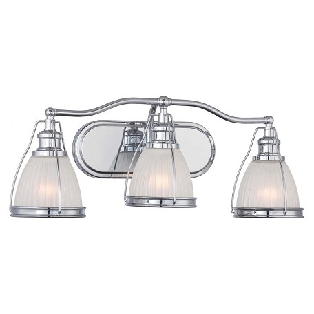 Minka-Lavery Chrome 3 Light 24In. Width Bathroom Vanity Light With Ribbed Opal Shade