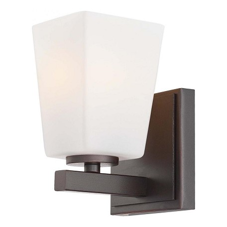 Minka-Lavery Lathan Bronze 1 Light Bathroom Sconce From The City Square Collection