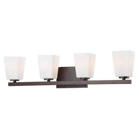 Minka-Lavery Lathan Bronze 4 Light Bathroom Vanity Light From The City Square Collection