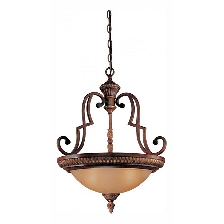 Minka-Lavery Belcaro Walnut 3 Light Indoor Bowl Shaped Pendant From The Belcaro Collection