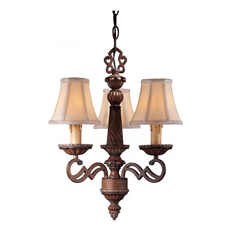 Minka-Lavery 3 Light Mini Chandelier With Belcaro Walnut Finish