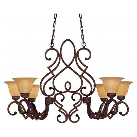 Minka-Lavery Belcaro Walnut 6 Light 1 Tier Linear Chandelier From The Belcaro Collection