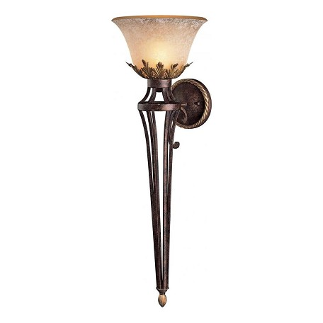 Minka Metropolitan 1 Light Golden Bronze Wall Sconce With Wrought Iron Frame And Salon Glass