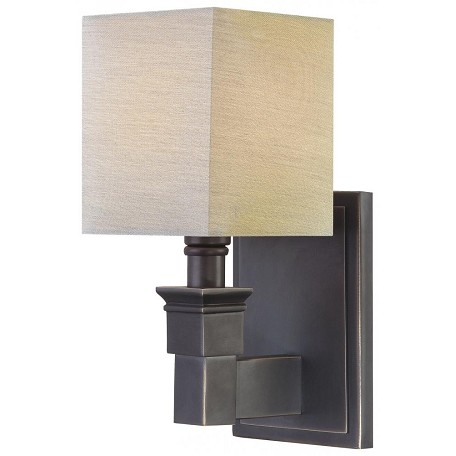 Minka Metropolitan Black Bronze Dusty Bronze Fabric Shades And Shade Wall Light Black Bronze ...