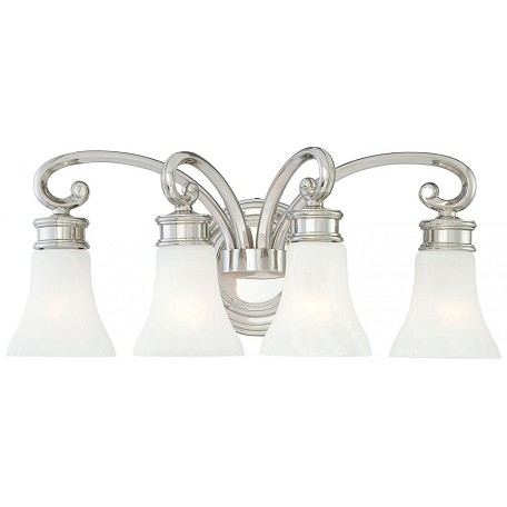 Minka Metropolitan Minka 4 Light Bath In Polished Nickel Finish With Etched White Glass