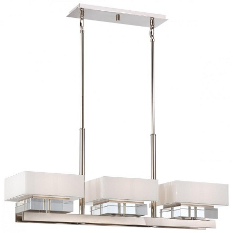 Minka Metropolitan Polished Nickel 6 Light 1 Tier Linear Chandelier From The Eden Roe Collection
