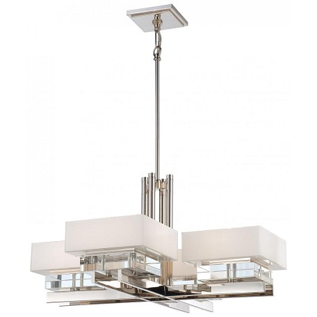 Minka Metropolitan 8 Light Polished Nickel Mitered White Inside With Eidolon Krystal Accents