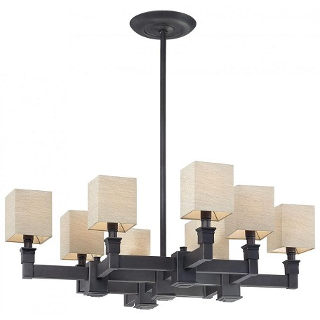 Minka Metropolitan Black Bronze Dusty Bronze Fabric Shades And Shade Up Chandelier