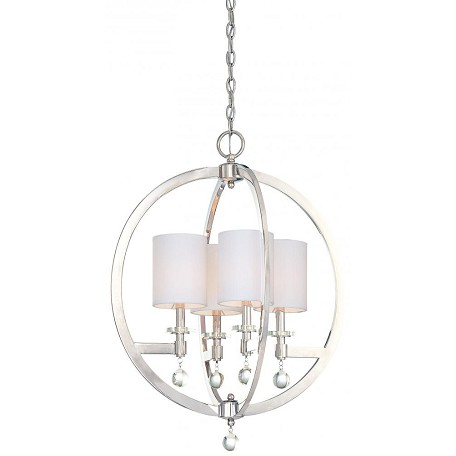 Minka Metropolitan Polished Nickel Eidolon Krystal Accents And White Linen Shades