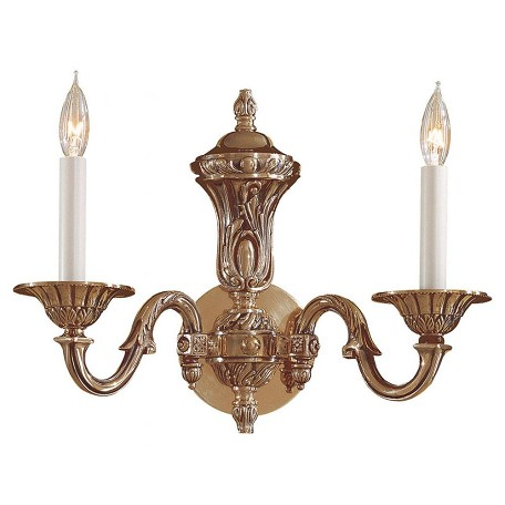 Minka Metropolitan Minka 2 Light Wall Sconce In Antique Classic Brass Finish With Wax Cast Arms