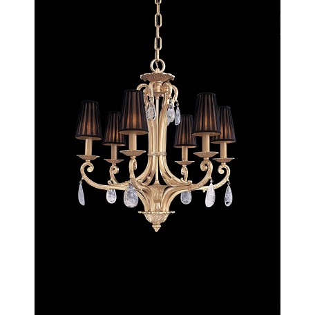 Minka Metropolitan Minka 6 Light Traditional Chandelier In Gold Plated Finish And Shade