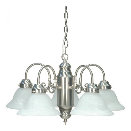 Nuvo 5 Light Chandelier W/ Alabaster Glass