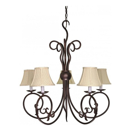 Nuvo Tapas - 5 Light - 29In. - Chandelier - W/ Linen Waffle Shade
