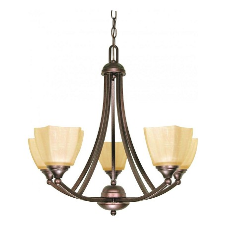 Nuvo Normandy - 5 Light - 25In. - Chandelier - W/ Champagne Linen Washed