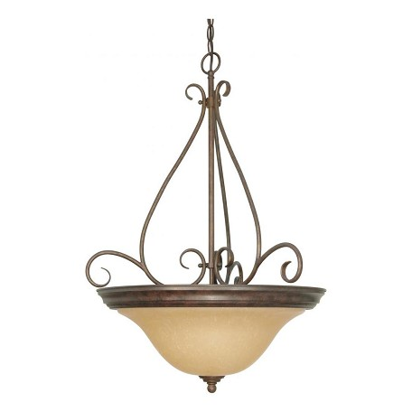 Nuvo Castillo - 3 Light - 19In. - Pendant - W/ Champagne Linen Washed Gla