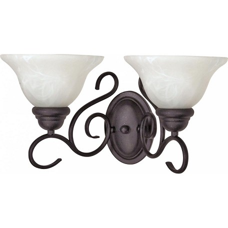 Nuvo Castillo - 2 Light - 18In. - Wall Fixture - W/ Alabaster Swirl Glass