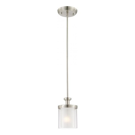 Nuvo Decker - 1 Light Mini Pendant W/ Clear & Frosted Glass