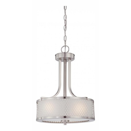 Nuvo Fusion - 3 Light Pendant W/ Frosted Glass