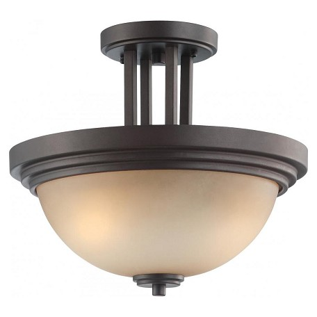Nuvo Harmony - 2 Light Semi Flush Fixture W/ Saffron Glass