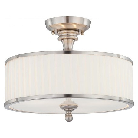 Nuvo Candice - 3 Light Semi Flush Fixture W/ Pleated White Shade
