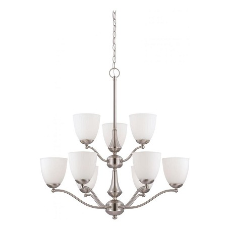 Nuvo Patton Es - 9 Light - 2 Tier Chandelier W/ Frosted Glass - (9) 13W Gu2